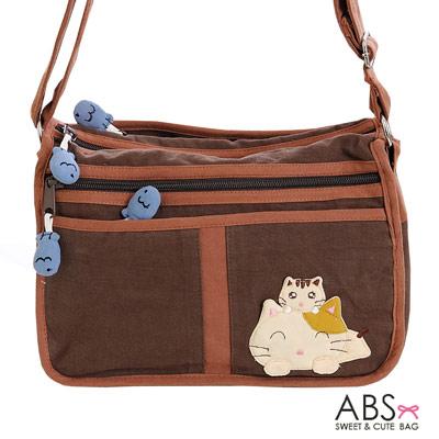 ABS貝斯貓 Smile Cat 小型多格層拼布肩背包 斜背包(咖啡)88-105