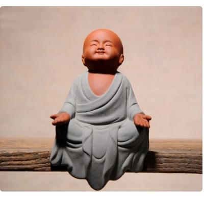原藝坊 禪趣風 居家紫砂陶瓷茶寵套組 小和尚擺飾(問天)