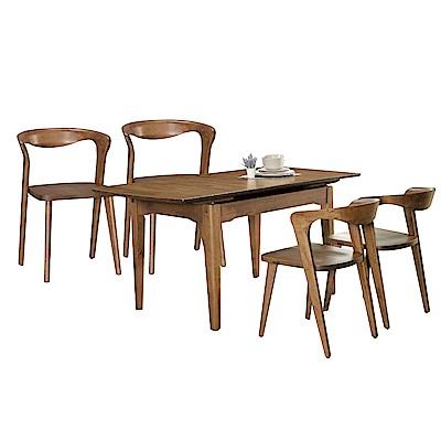 品家居 朵特4.3尺可拉合式實木餐桌椅組合(一桌四椅)-130x80x76cm免組
