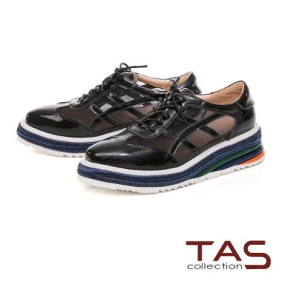 TAS 異材質拼接透膚網紗厚底休閒鞋-人氣黑