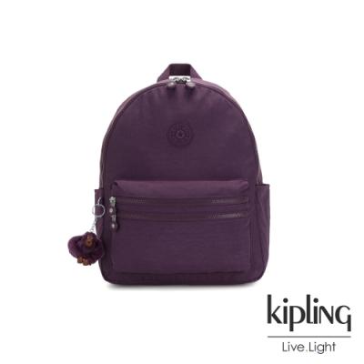 Kipling 低調奢華深紫色拉鍊後背包-BOUREE