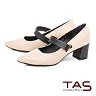 TAS寬版釦帶素面粗跟鞋-簡約米