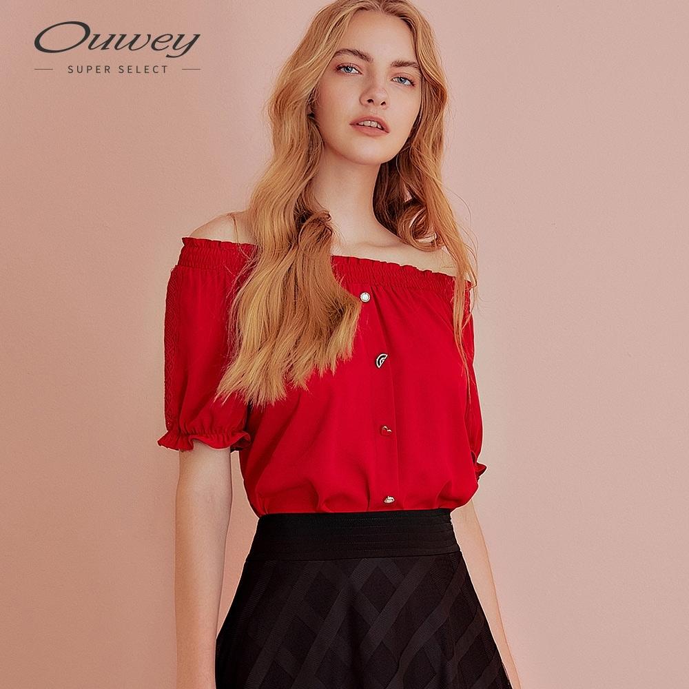 OUWEY歐薇 質感愛心大圓領上衣(紅)