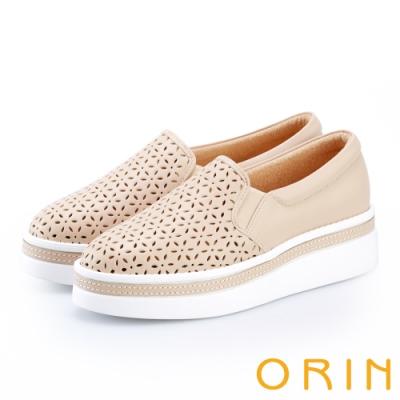 ORIN 牛皮花紋簍空厚底休閒便鞋 裸色