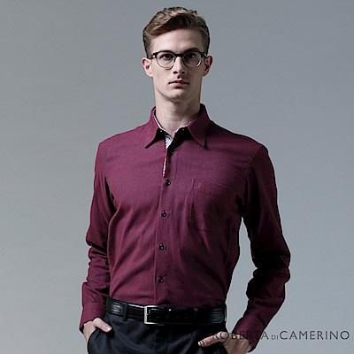 ROBERTA諾貝達 台灣製 嚴選穿搭 純棉休閒百搭長袖厚襯衫 暗紅