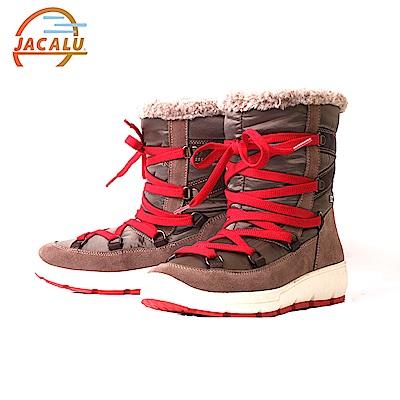Jacalu 中筒布面織帶雪靴2820.2/J 灰褐