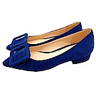 Cinderella Fashions 時尚品味方釦飾磨毛平底鞋- 深藍色