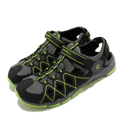 Merrell 涼鞋 Hydro Quench 運動休閒 童鞋 快乾內裡 緩震 高抓地力 魔鬼氈 中大童 黑 綠 MK263196