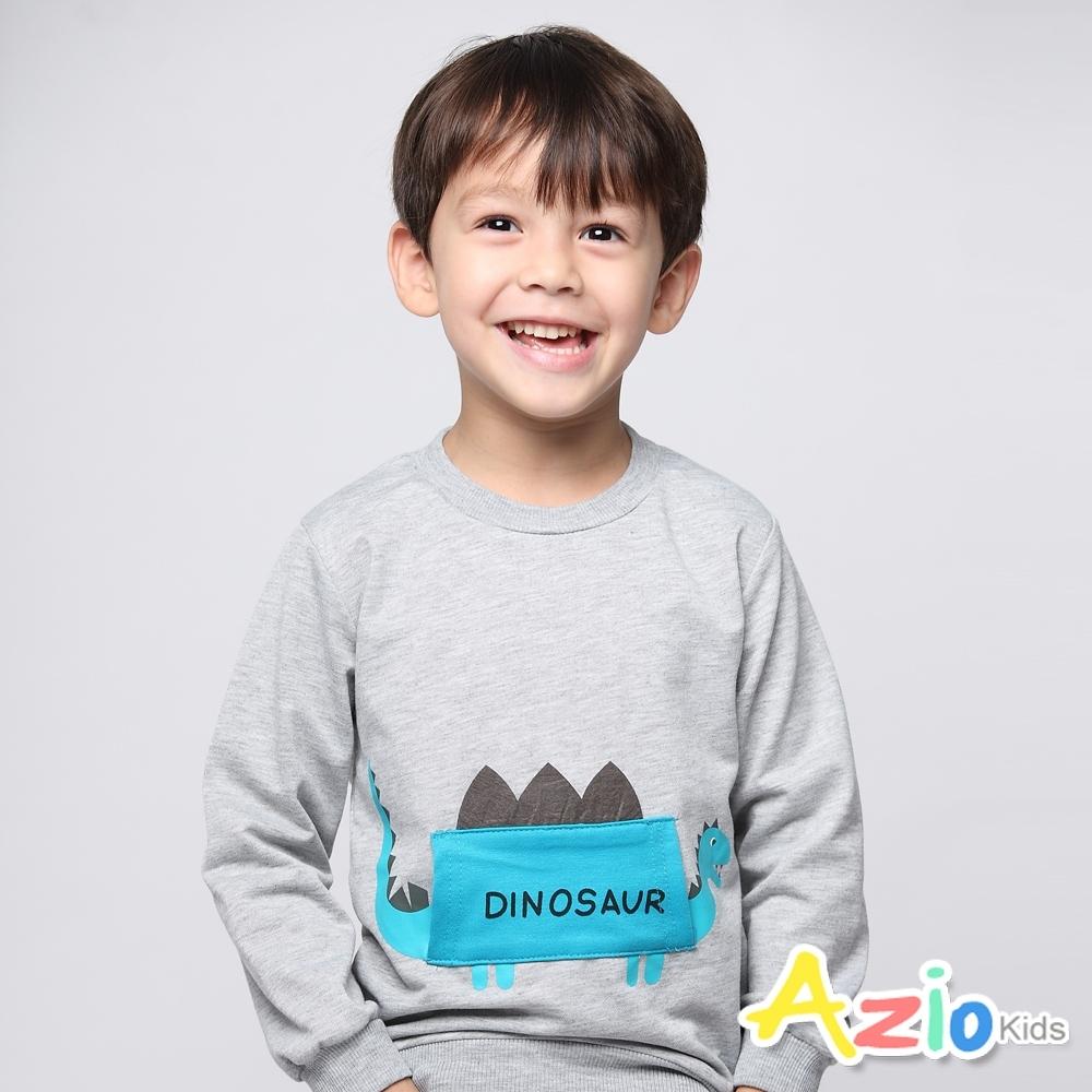 Azio Kids 男童 上衣 貼布劍龍長袖上衣(灰)