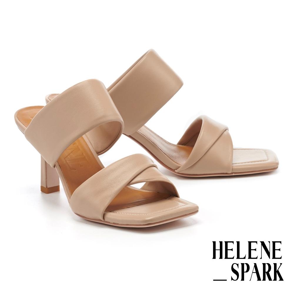拖鞋 HELENE SPARK 極簡迷人姿態超軟羊皮方頭高跟拖鞋-米