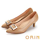 ORIN 典雅氣質 方型金屬釦環牛皮高跟鞋-卡其