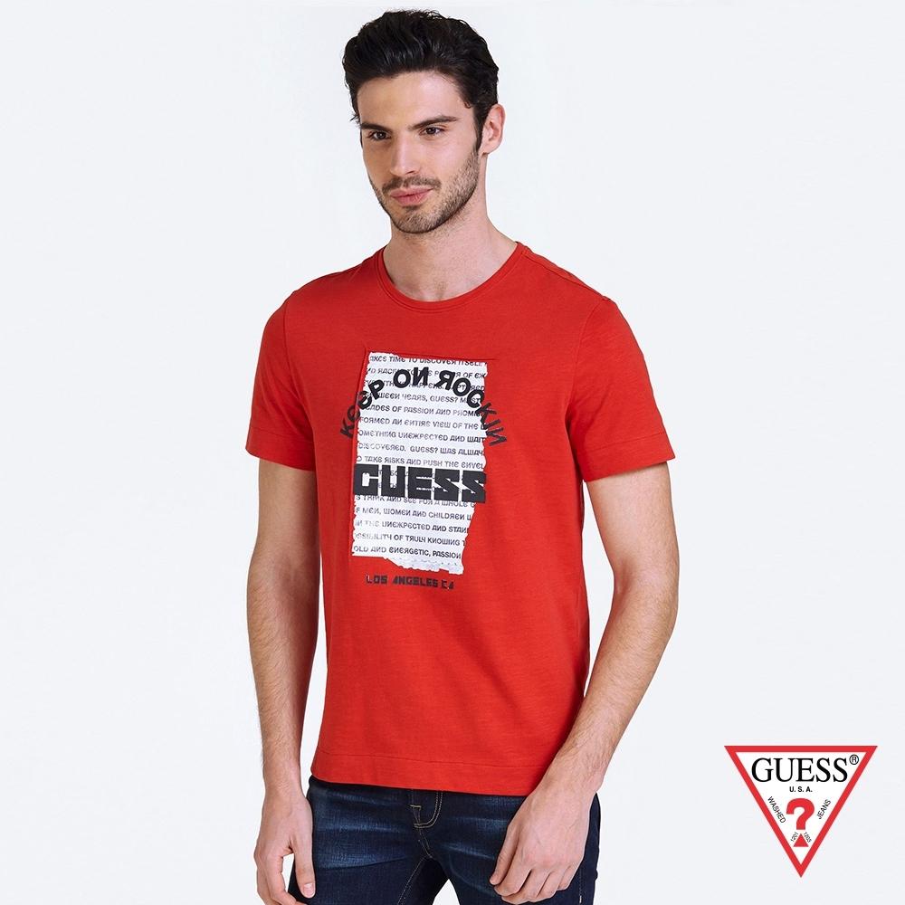 GUESS-男裝-美式印圖短T,T恤-紅 原價1090