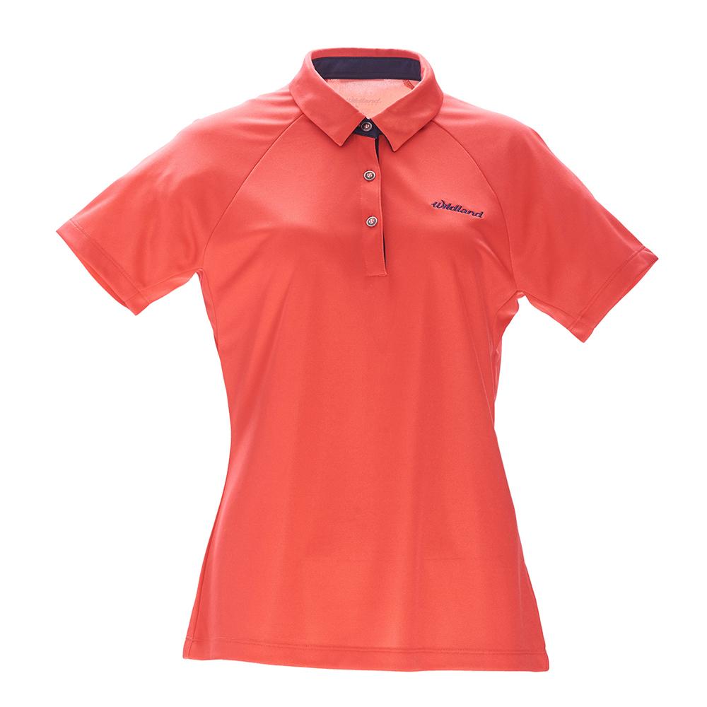 荒野【wildland】女涼感POLO本布領短袖上衣橘紅