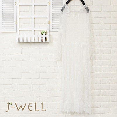 J-WELL 小花領長袖蕾絲洋裝(4色)
