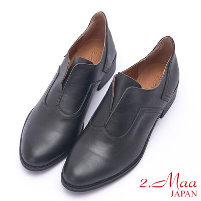 2.Maa 素面簡約漸層羊皮紳士跟鞋 - 黑