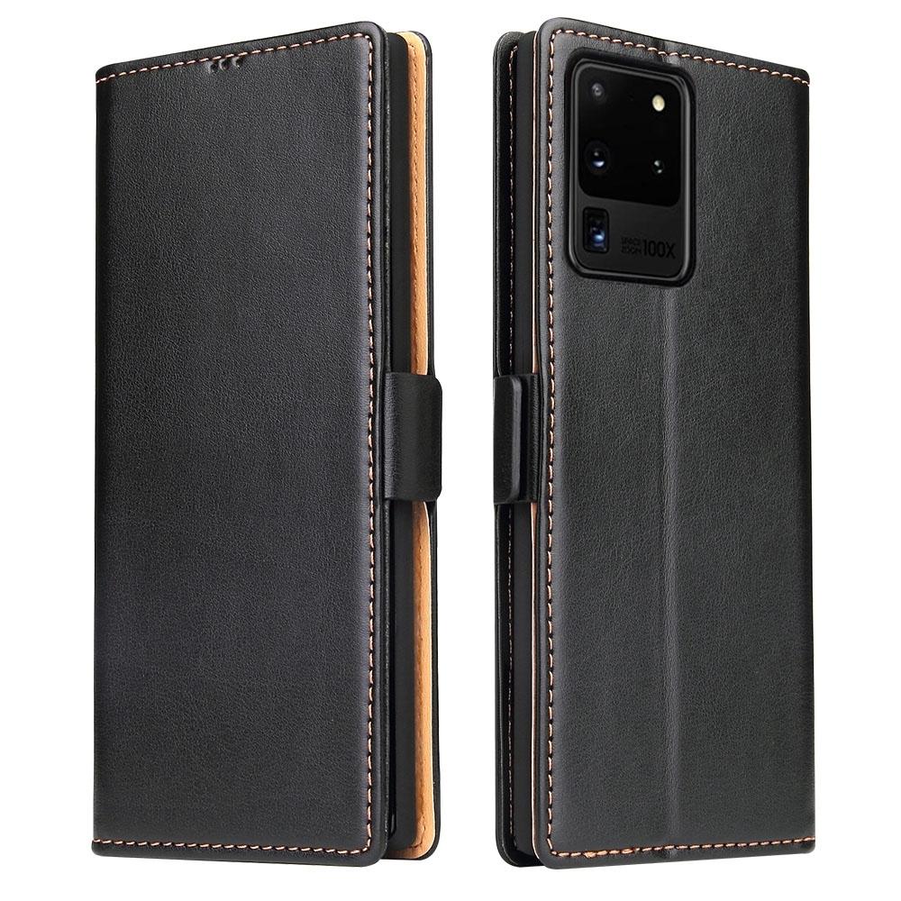 Fierre Shann 真皮紋 Samsung Note 20 Ultra (6.9吋) 錢包支架款 磁扣側掀 手工PU皮套保護殼