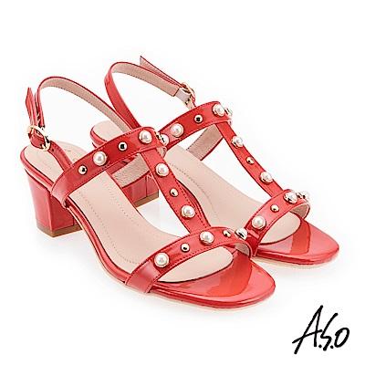 A.S.O 奇幻樂章  珍珠璀璨低跟涼拖鞋 橘紅
