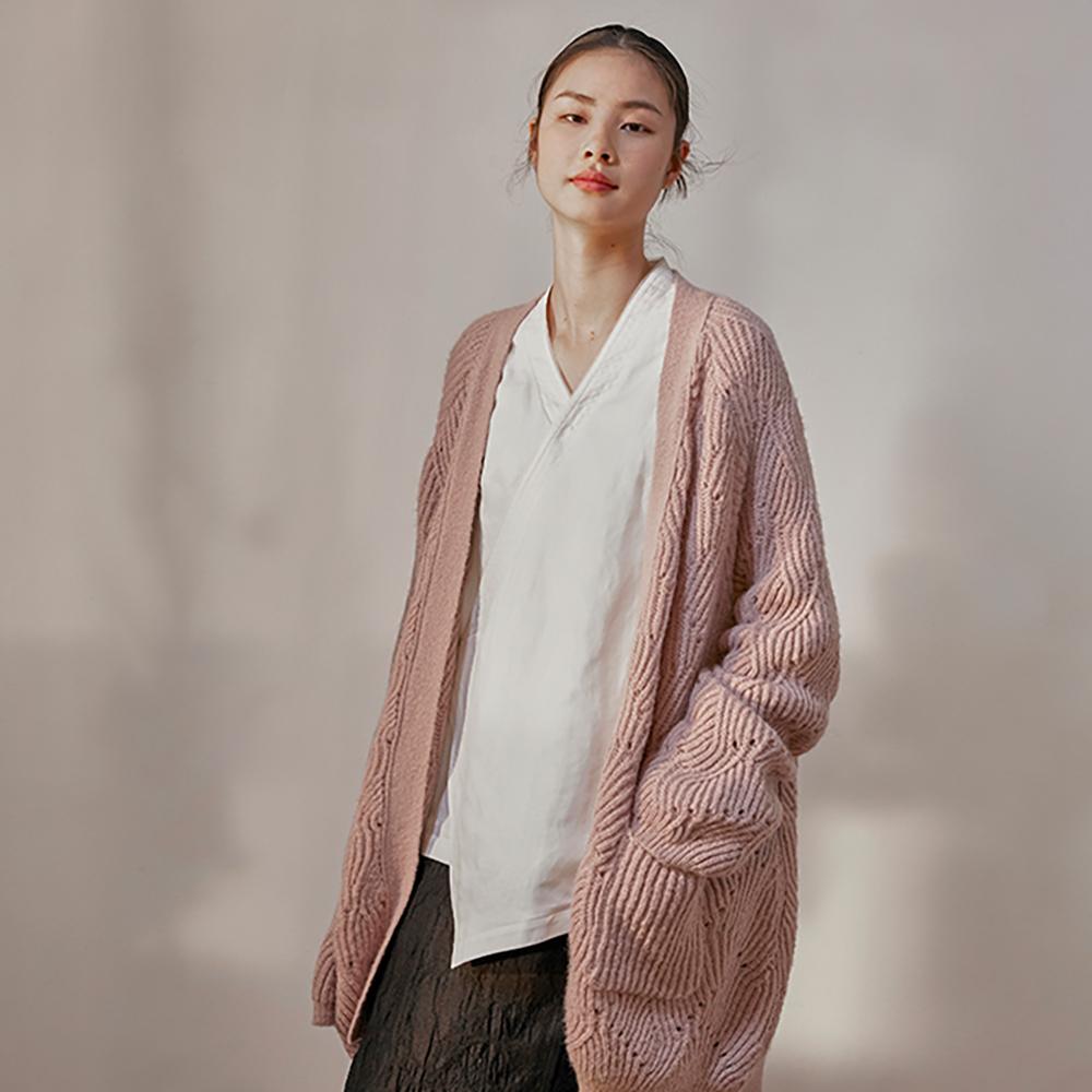旅途原品_紅顏知己_原創設計馬海毛花型毛衣外套-粉紫色