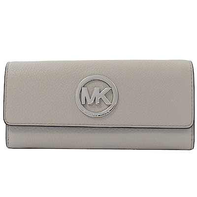 MICHAEL KORS MONEY PIECES大圓MK牛皮扣式長夾(珍珠灰)