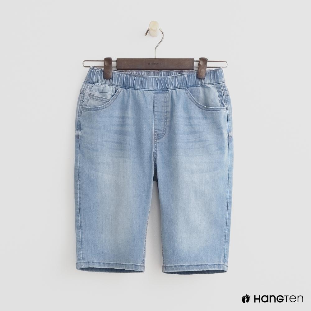 Hang Ten-童裝-超百搭牛仔短褲-淺藍