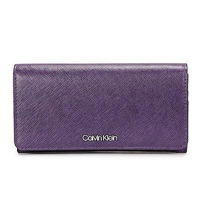 Calvin Klein 經典防刮皮革LOGO長夾-紫色