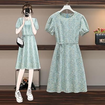 清新藍綠小碎花圓領洋裝L-4XL-KVOLL
