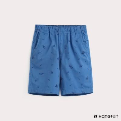 Hang Ten-童裝滿版印花休閒短褲-淺藍