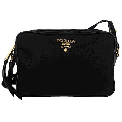 PRADA 黑色尼龍布金屬標誌皮飾邊斜肩包