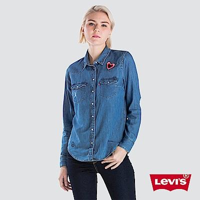 Levis 女款 牛仔襯衫 愛心徽章 口袋破補