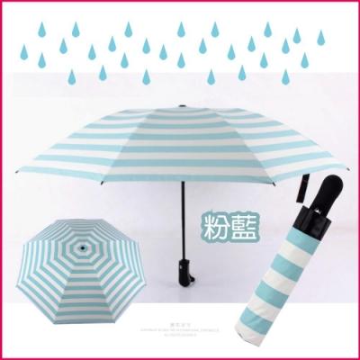 【生活良品】8骨自動摺疊反向晴雨傘-條紋款海軍紋天藍色