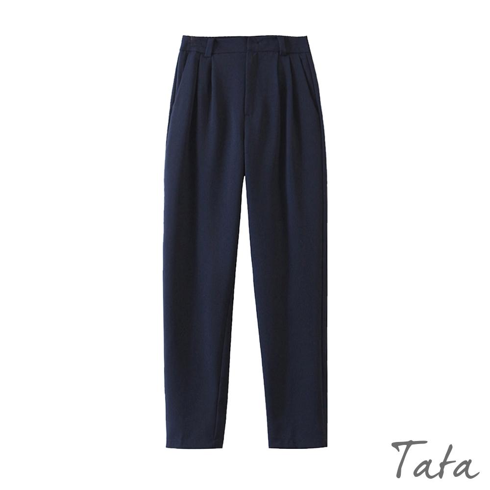 打摺落地西裝褲 共二色 TATA-(S~L) (藏青)