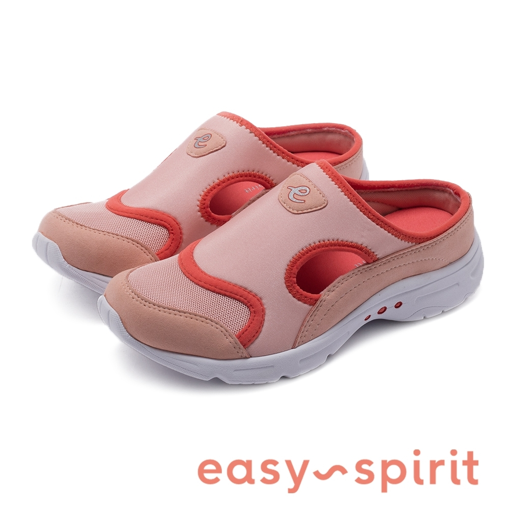 Easy Spirit-seBOW2-A 特選玩彩亮眼側挖空透氣休閒拖鞋-桃橘色