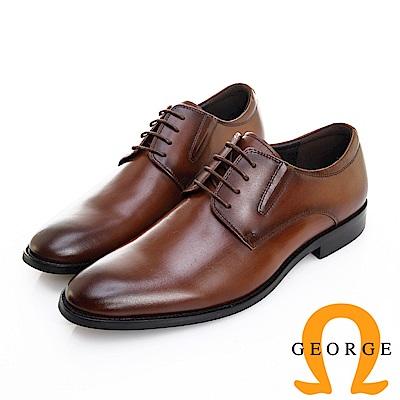 GEORGE 喬治皮鞋 職人系列 真皮素面側V切口紳士皮鞋 -咖