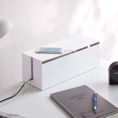 日本【YAMAZAKI】web電線收納盒-附蓋(白)★居家收納/延長線/電線/充電線