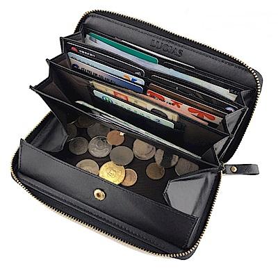 玩皮工坊-真皮十字紋牛皮日本熱銷款自動分離零錢女士皮夾皮包錢夾錢包長夾女夾LH577