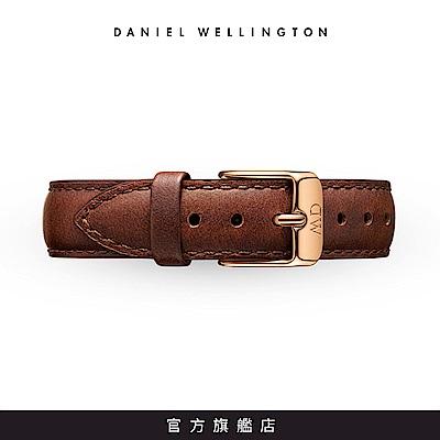 DW 錶帶 14mm金扣 紅棕真皮皮革錶帶