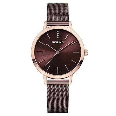 BERING丹麥精品手錶 簡約刻度米蘭帶系列 紅棕x玫瑰金34mm