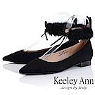 Keeley Ann 氣質甜美~毛絨兔耳腳踝綁帶全真皮平底鞋(黑色-Ann)