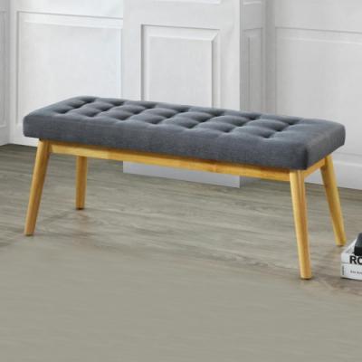 Bernice-夏克3.7尺灰色布長凳/雙人椅/長椅/床尾椅/穿鞋-111x42x46cm