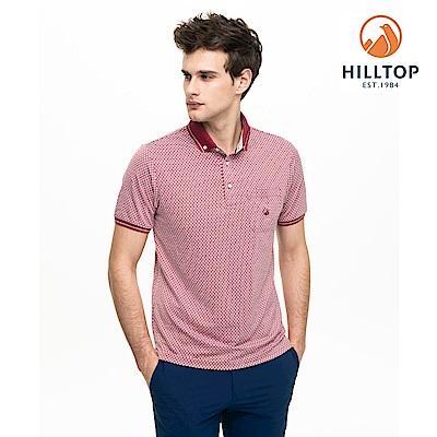 【hilltop山頂鳥】男款吸濕快乾抗菌抗UVPOLO衫S14MG9紅/樣衣灰