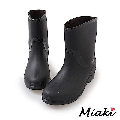 Miaki-雨靴雨天必備防水短靴-黑