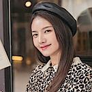 質感壓紋皮革可調節貝雷帽-OB大尺碼