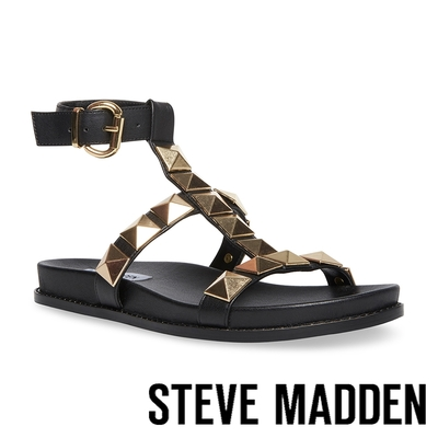 STEVE MADDEN-DAFT 鉚釘繞踝平底涼拖鞋-黑色