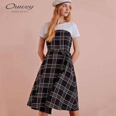 OUWEY歐薇 簡約格紋雪紡假兩件洋裝(藍)