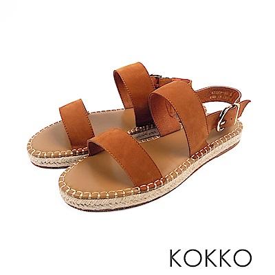 KOKKO - 涼夏牛皮後帶草編休閒平底涼鞋 - 梢棕