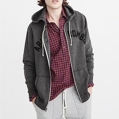 麋鹿 AF A&F 經典文字刺繡連帽外套-深灰色