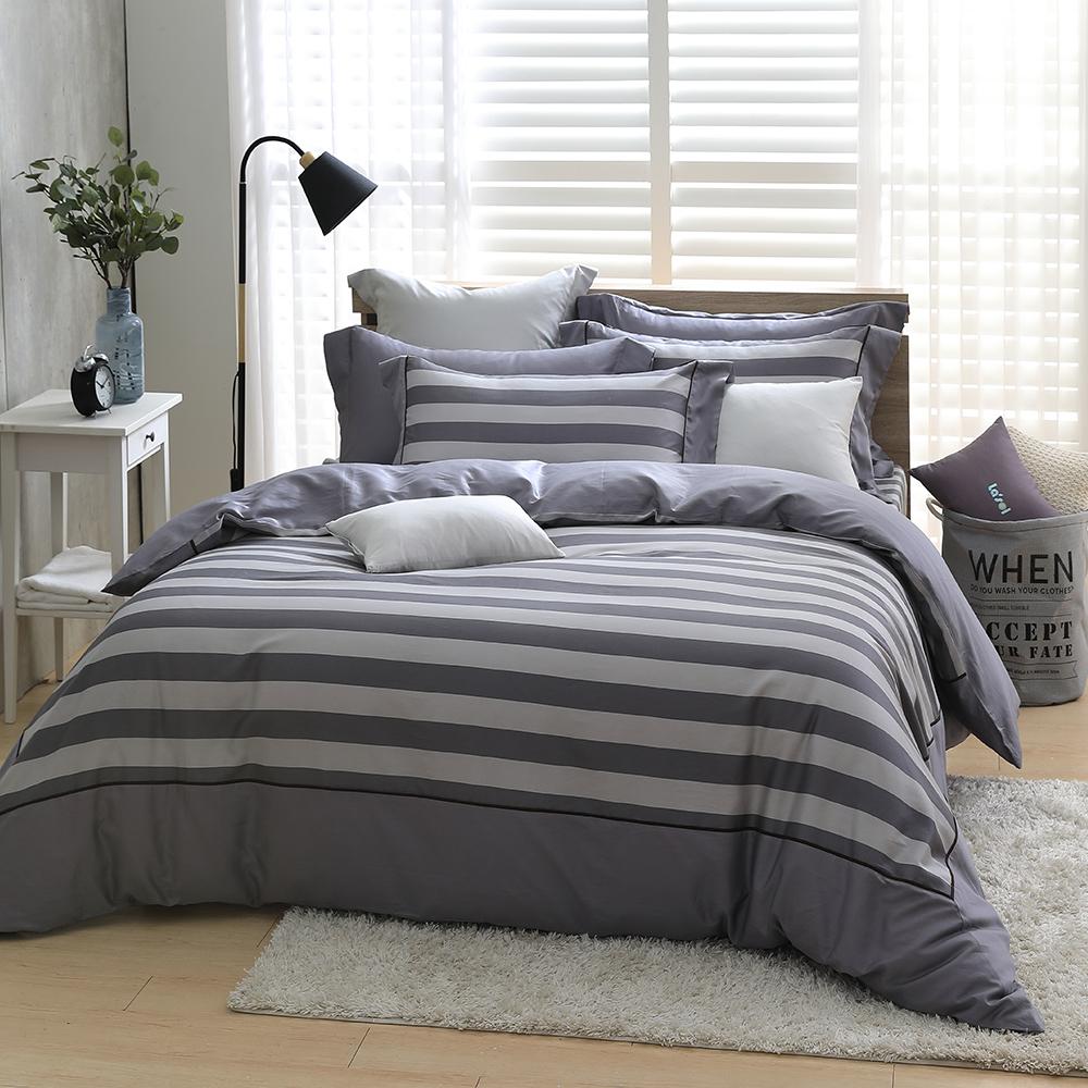 LASOL睡眠屋-300織設計款精梳棉 特大兩用被床包四件組 表現空間