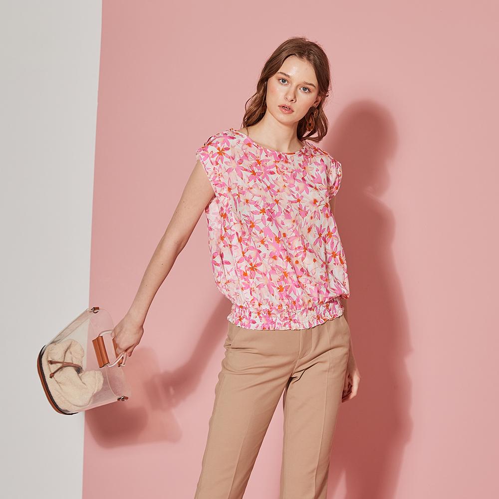ICHE 衣哲 時尚精緻絲製高磅棉印花造型上衣-櫻花粉