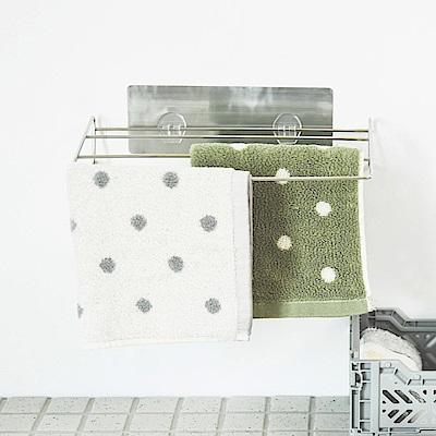 Home Feeling 毛巾架/抹布架/三層/304不鏽鋼/髮絲紋無痕貼