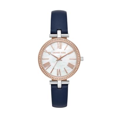 MICHAEL KORS優雅亮鑽真皮腕錶/MK2833